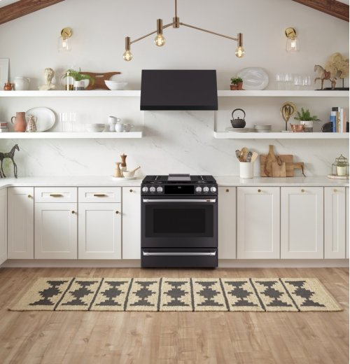 "Café 30"" Slide-In Front Control Dual-Fuel Convection Range with Warming Drawer"