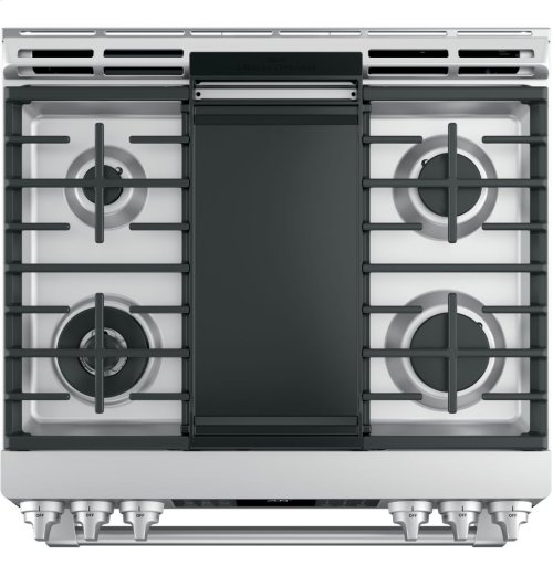 "GE Cafe™ Series 30"" Slide-In Front Control Dual-Fuel Range with Warming Drawer"