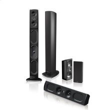 Five piece 5.1 channel home theater speaker system with built-in powered subwoofers
