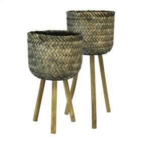 S/2 Bamboo Planters On Stands, Brown