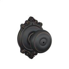 Georgian Knob with Brookshire Trim Bed & Bath Lock - Matte Black