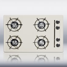"30"" wide cooktop in bisque, with four burners and pilot light ignition"