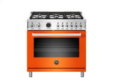 36 inch Dual Fuel Range, 6 Brass Burner, Electric Self-Clean Oven Orange