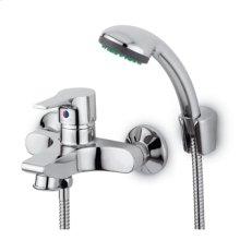 Exposed single lever bath-shower mixer with antisplash diverter handshower Z94717.C spray support 1500mm flexible hose.