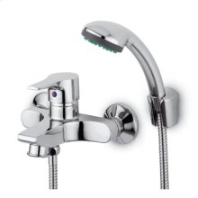 Exposed single lever bath-shower mixer with antisplash diverter handshower Z94717.C spray support 1500mm flexible hose.