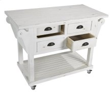 Kitchen Island w/ Drawers - Distressed White Finish