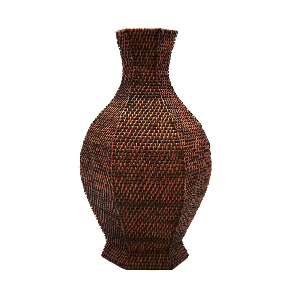 Batam 6-sided Baluster Vase, Brown
