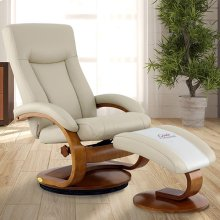 Hamar Recliner and Ottoman in Beige Breathable Air Leather