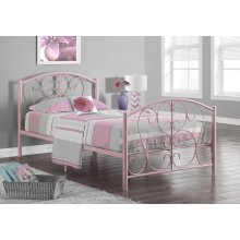 BED - TWIN SIZE / PINK METAL FRAME ONLY