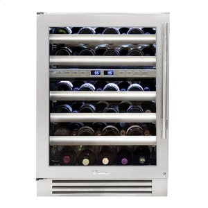 True Residential24 Inch Dual Zone Stainless Glass Door Left Hinge Undercounter Wine Cabinet
