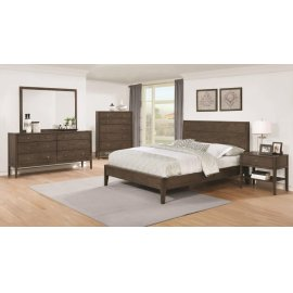 Lompoc Mid-century Modern Brown Walnut California King Five-piece Set