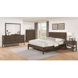 Lompoc Mid-century Modern Brown Walnut California King Five-piece Set