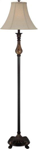 Floor Lamp - D.BRZ/FAUX MARBLE/L.BEIGE Shade, E27 Cfl 23w Product Image