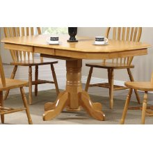 DLU-TCP3660-LO  Pedestal Extendable Dining Table  Light Oak Finish