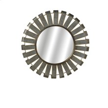 Small Round Galvanized Slat Wall Mirror with Gold Edge.
