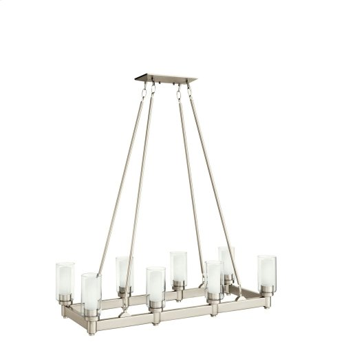 Circolo 8 Light Linear Chandelier Brushed Nickel