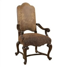 DARK ANTIQUE LIDO FINISHED ARM CHAIR, RAGTIME LEATHER AND PAI SLEY UPHOLSTERY