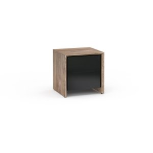 Salamander DesignsBarcelona 217, Single-Width Audio Cabinet, Natural Walnut with Black Glass Doors