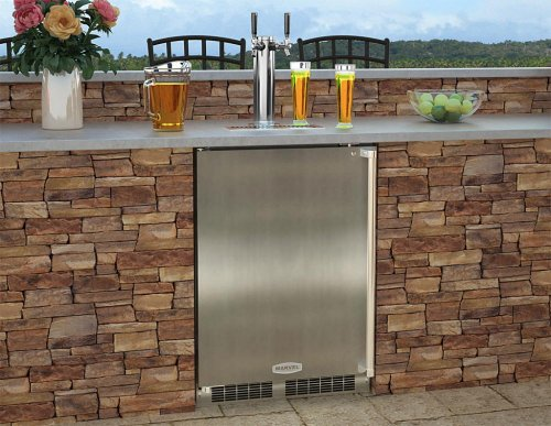 "Outdoor 24"" Single Tap Built In Beer Dispenser - Marvel Refrigeration - Solid Black Door, Stainless Handle Twin Tap - Left Hinge"