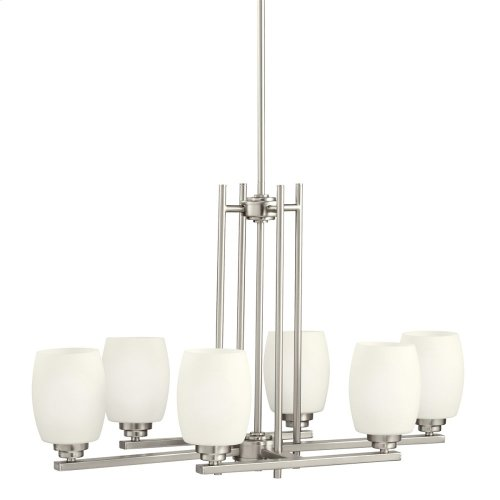 Eileen 6 Light Chandelier with LED Bulbs Brushed Nickel