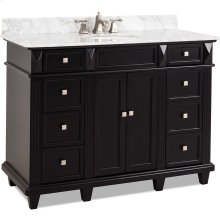 "48"" vanity with sleek black finish, clean lines and tapered feet with preassembled top and bowl."
