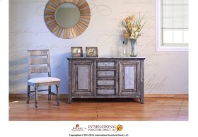 "58"" 1/2 Wood & Zinc Console w/4 Drawers, 2 doors"