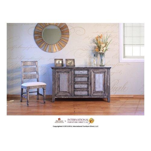 "58"" 1/2 Wood & Zinc Console w/4 Drawers, 2 doors"