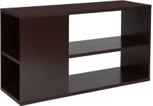 """Dorchester 4 Shelf 25.75""""H Bookcase with Front and Side Storage in Walnut Wood Grain Finish"""