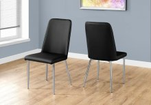 """DINING CHAIR - 2PCS / 37""""H / BLACK LEATHER-LOOK / CHROME"""