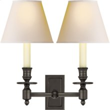 Visual Comfort S2212BZ-NP Studio French 2 Light 12 inch Bronze Decorative Wall Light in Natural Paper