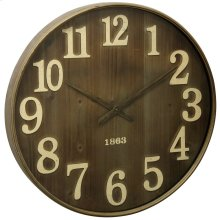 Antique Metal & Glass Wall Clock  28in X 28in