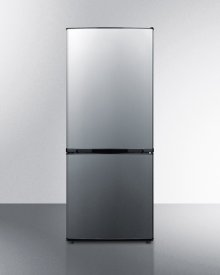 """Frost-free Bottom Freezer Refrigerator With Stainless Steel Doors, Black Cabinet, and Icemaker In Unique 60"""" Height\n\n"""