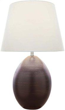 Ceramic Table Lamp, Dark Brown/white Fabric, E27 A 100w