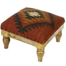 Red Pattern Kilim Stool