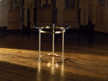 Polished Solid Brass Lamp Table with 1/2 Inch CVP Edge Glass Top