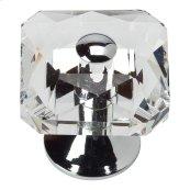 Crystal Large Square Knob 1 1/2 Inch - Polished Chrome
