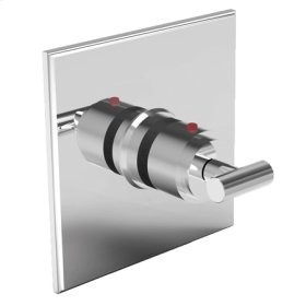 Uncoated Polished Brass - Living Square Thermostatic Trim Plate with Handle