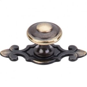 Canterbury Knob 1 1/4 Inch w/Backplate - Dark Antique Brass