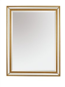 Rectangular Mirror with Beveled Mirror Borders in Antiqued Gold Metal Leaf