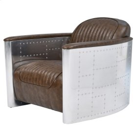 Easton PU Accent Chair Aluminum Frame, Distressed Mocha