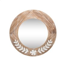 Leaf Flower Metal Wood Mirror