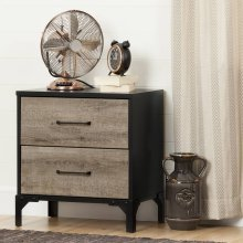2-Drawer Nightstand - End Table with Storage - Weathered Oak and Ebony