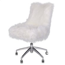 Rhona Faux Fur Office Chair, Freesia White