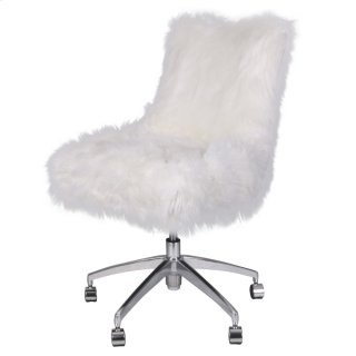 Rhona Faux Fur Office Chair, Freesia White