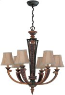 6 Lites Chandelier - Aged Bronze/fabric Shade, E12 B 60wx6 Product Image