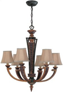 6 Lites Chandelier - Aged Bronze/fabric Shade, E12 B 60wx6