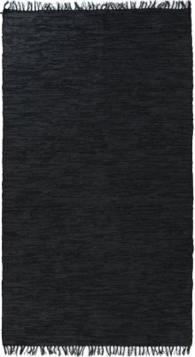 5'x8' Size Woven Leather Charcoal Rug