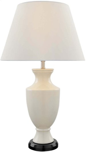 Ceramic Table Lamp, Ivory/off-white Fabric Shade, A 100w
