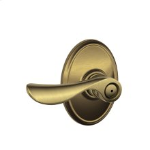 Champagne Lever with Wakefield trim Bed & Bath Lock - Antique Brass