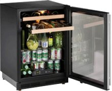 "Stainless Right hand, lock model 1000 Series / 24"" Beverage Center / Double Zone Temperature System"